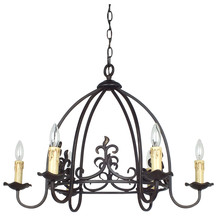 CAL Lighting FX-3509/6 - 60W X 6 BIRD CAGE HAND FORGED IRON 5 LIGHT CHANDELIER
