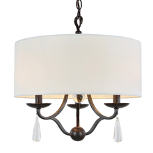 Crystorama 5973-EB - Crystorama Manning 3 Light Bronze Leaf Mini Chandelier