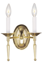 Livex Lighting 5122-02 - 2 Light Polished Brass Wall Sconce