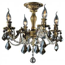 Worldwide Lighting Corp W33303B17-GT - Windsor Collection 4 Light Antique Bronze Finish with Golden Teak Crystal Ceiling Light