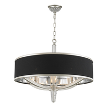 "Worldwide Lighting Corp W83953C12-BK - Alice Collection 5 Light LED Chrome Finish with Black String Shade Pendant 12"" D x 4"" H Smal"