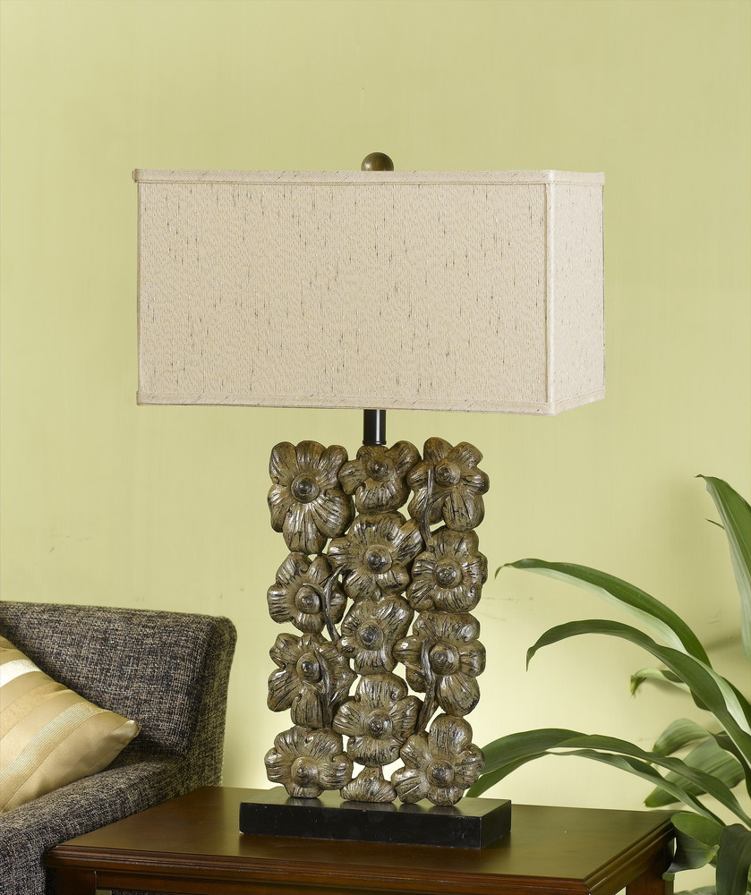Champions Lighting in Houston, Texas, United States,  13QZW, 150W 3 WAY RESIN FLORAL TB LAMP,