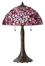 CAL Lighting BO-2404TB - 60W x 2 hand crafted natural Amethyst gem stone table lamp with zinc cast base