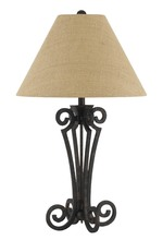 CAL Lighting BO-2704TB - 150W 3 way Blacksmith wrought iron table lamp with burlap shade