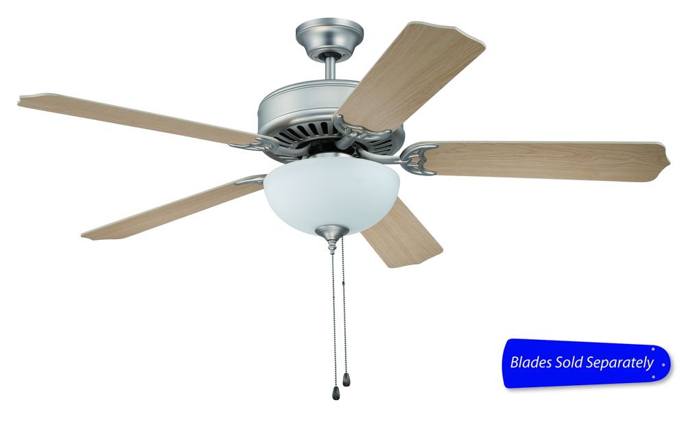 "Champions Lighting in Houston, Texas, United States,  T8TW, Pro Builder 201 52"" Ceiling Fan with Light in Brushed Satin Nickel (Blades Sold Separately), Pro Builder 201"