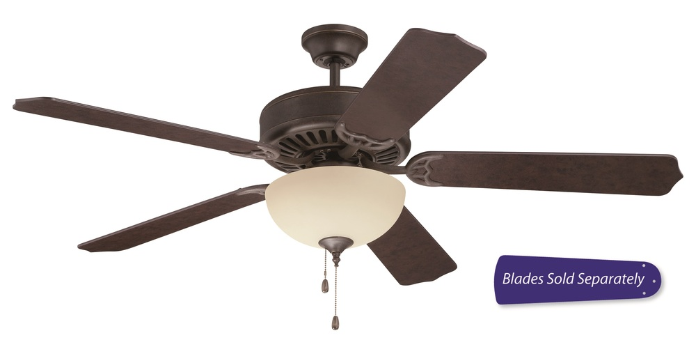 "Champions Lighting in Houston, Texas, United States,  T8UE, Pro Builder 202 52"" Ceiling Fan with Light in Aged Bronze Textured (Blades Sold Separately), Pro Builder 202"
