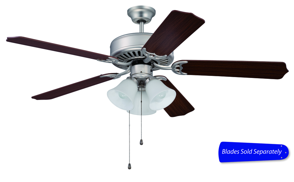 "Champions Lighting in Houston, Texas, United States,  T9QT, Pro Builder 205 52"" Ceiling Fan with Light in Brushed Satin Nickel (Blades Sold Separately), Pro Builder 205"