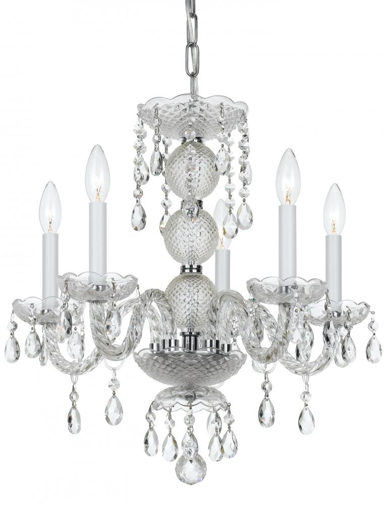 Champions Lighting in Houston, Texas, United States,  2GUF9, Crystorama Traditional Crystal 5 Light Clear Crystal Chrome Mini Chandelier, Traditional Crystal