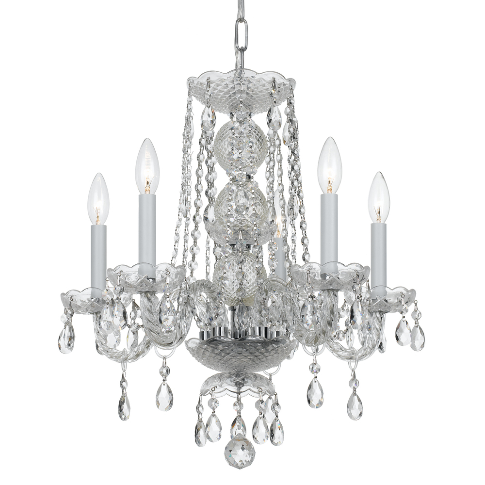 Champions Lighting in Houston, Texas, United States,  2GVAF, Crystorama Traditional Crystal 5 Light Clear Crystal Chrome Mini Chandelier, Traditional Crystal