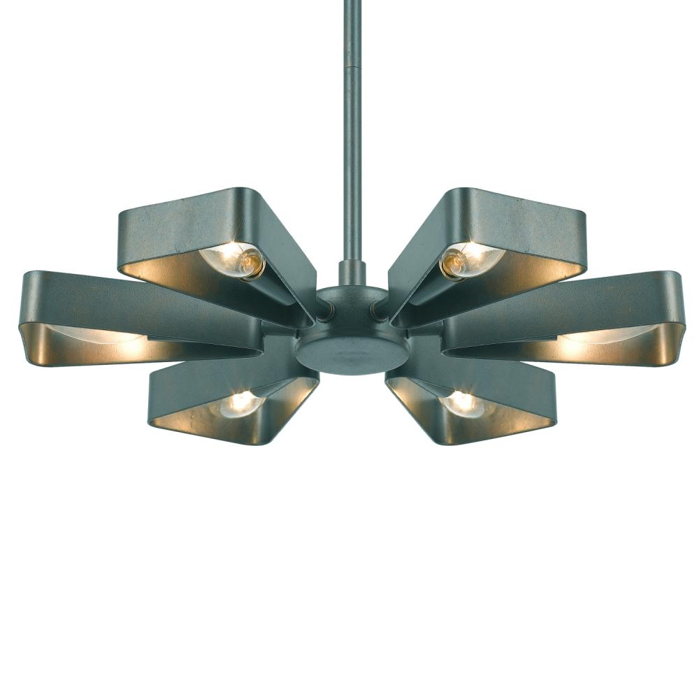 Crystorama Luna 6 Light Gray Finish Mini Chandelier