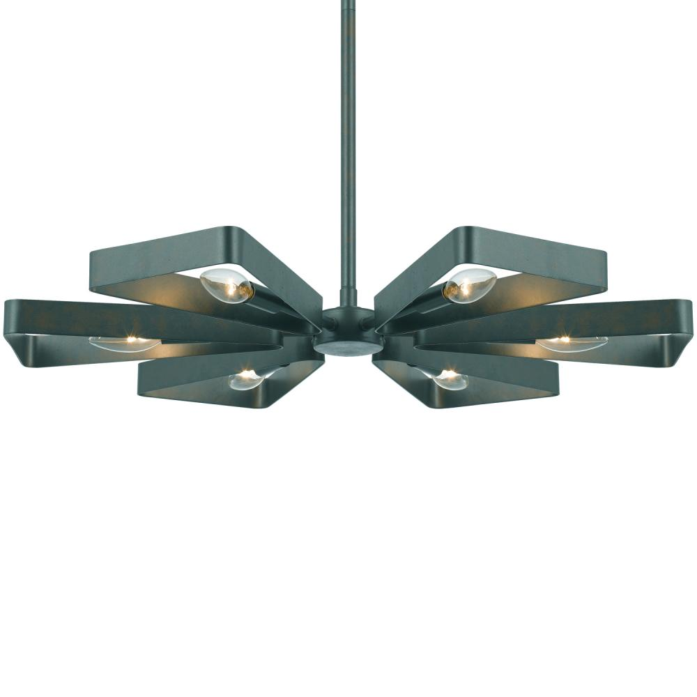 Champions Lighting in Houston, Texas, United States,  2GVC0, Crystorama Luna 6 Light Gray Finish Chandelier, Luna
