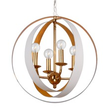 Crystorama 584-MT-GA - Crystorama Luna 4 Light White & Gold Sphere Mini Chandelier