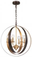 Crystorama 585-EB-GA - Crystorama Luna 6 Light Bronze & Gold Sphere Large Chandelier
