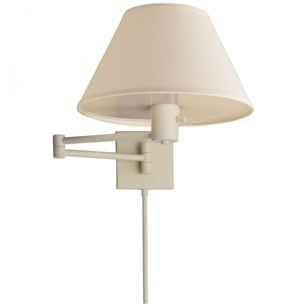 Champions Lighting in Houston, Texas, United States,  22G1W, Classic Swing Arm Wall Lamp in White with Linen, VC CLASSIC