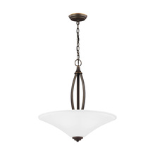 Sea Gull 6613203BLE-715 - Fluorescent Metcalf Three Light Up Pendant in Autmumn Bronze with Satin Etched Glass