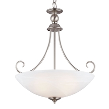 Sea Gull 66316BLE-965 - Fluorescent Lemont Three Light Pendant in Antique Brushed Nickel with White Alabaster Glass