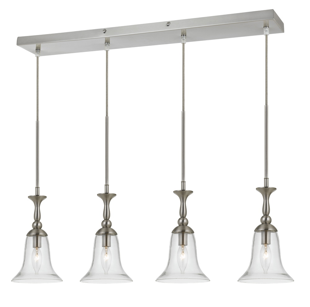 "72"" Inch Tall Glass Pendant In Brushed Steel Finish"
