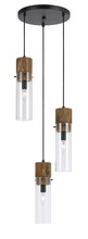 "CAL Lighting FX-3583-3 - 11"" Inch Glass Pendant In Dark Bronze Wood Finish"