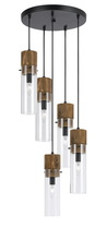 "CAL Lighting FX-3583-5 - 11"" Inch Glass Pendant In Dark Bronze Wood Finish"
