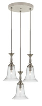 "CAL Lighting FX-3610-3 - 108.5"" Inch Tall Glass Pendant In Brushed Steel Finish"