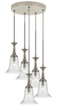 "CAL Lighting FX-3610-5 - 108.5"" Inch Tall Glass Pendant In Brushed Steel Finish"